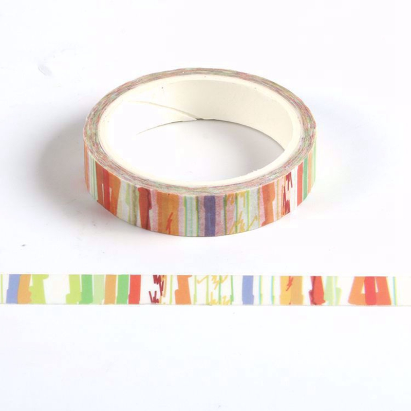 10PCS/lot Cute 10mm Orange Yellow Watercolor Washi Tapes Paper For Scrapbooking Bullet Journal Adhesive Masking Tapes Stationery