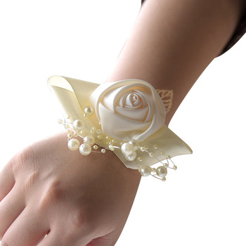 New Bridesmaid Bracelet Wedding Corsage Wrist Flower Silk Ribbon Rose Flowers Pearl Bridl Gifts Wristband