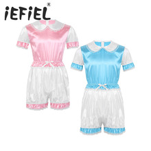 Sexy Male Mens Sissy Silky Satin Doll Collar Short Puff Sleeves Trimmed Lace Romper Adult Cosplay Costume Dresses for Nightwear