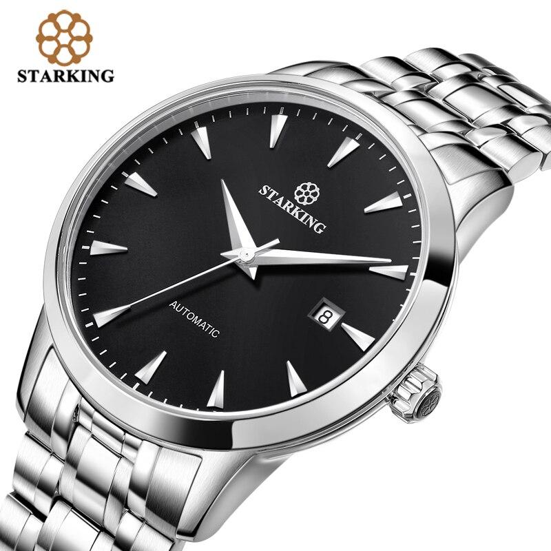STARKING Original marque montre hommes automatique auto-vent en acier inoxydable 5atm étanche hommes d'affaires montre-bracelet montres AM0184