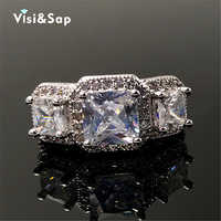 Visisap 3 stone Ring Princess cut White Gold color fashion Jewelry for men Wedding Rings For Women Gifts high quality VSR170