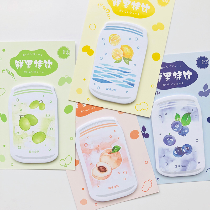 30 Sheets Summer Cool Fruits Drinks Peach Lemon Memo Pads Sticky Notes School Stationery