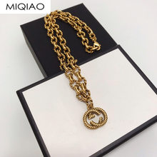 Retro bees letter Gu 2020 Double G Temperament Female Small Exaggeration Bronze Necklace DJSP158(China)