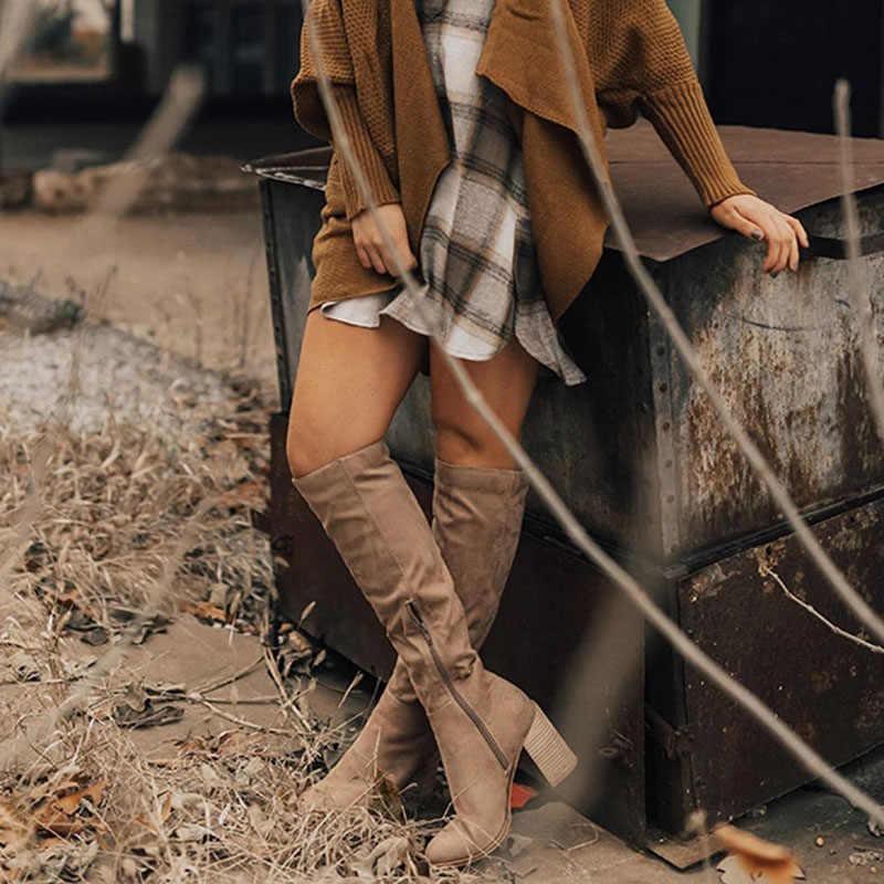 SHUJIN Delle Donne Cerniera Stivali Sexy Degli Alti Talloni Delle Donne Scarpe Lace Up Inverno Stivali Alti Fino Al Ginocchio Formato Caldo 35- 43 2019 Nuovi Stivali di Moda