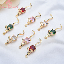 4PCS 28*7MM 24K Gold Color Plated with Zircon Mouse Pendants Charms High Quality DIY Jewelry Making Findings Accessories