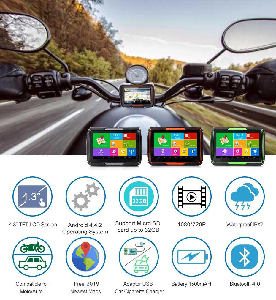 2020 Fodsports GPS Navigation Mit Camcorder DVR Wasserdichte WIFI BT GPS Navigation Systerm Motorrad 4,3 Zoll TFT Touch Screen
