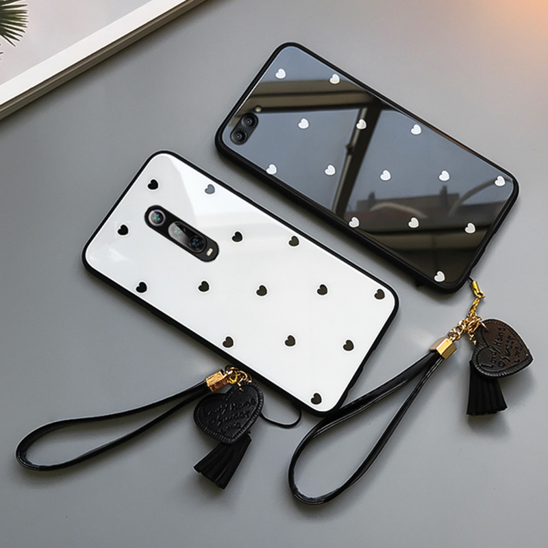 <font><b>Case</b></font> & Strap For <font><b>OPPO</b></font> A11 A11X <font><b>A5</b></font> <font><b>A9</b></font> <font><b>2020</b></font> A3 A7 2018 phone <font><b>Case</b></font> For <font><b>OPPO</b></font> A5S A3S Cover Small Heart Tempered Glass Hard Casing image