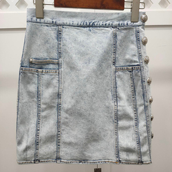 Frauen Mini Rock Elegante Frühling Hohe Taille Casual Denim Röcke Mode Taschen Rock Weibliche