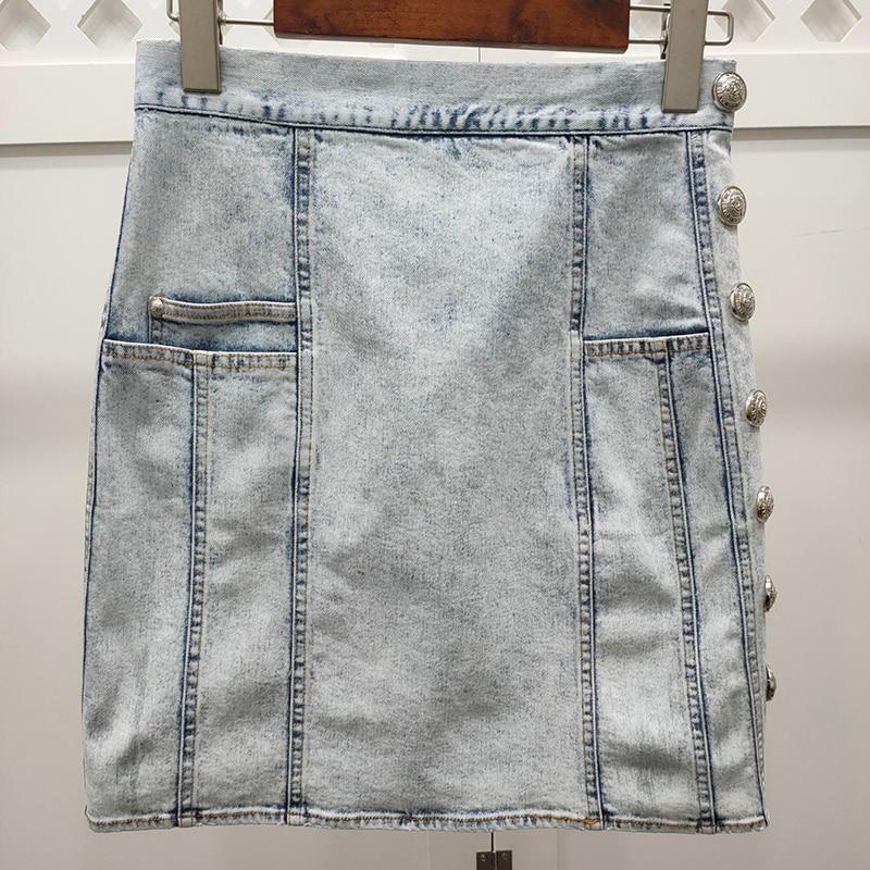 Women Mini Skirt Elegant Spring High Waist Casual Denim Skirts Fashion Pockets Skirt Female