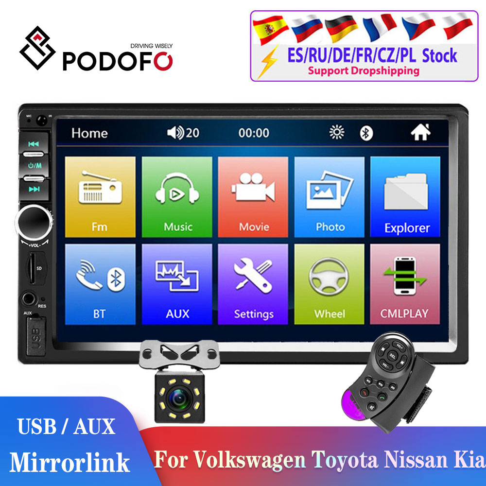 Podofo 2din auto radio 2din Auto Multimedia Player 2DIN Autoradio Android Mirrorlink 2din Auto Stereo MP5 Bluetooth USB FM Kamera