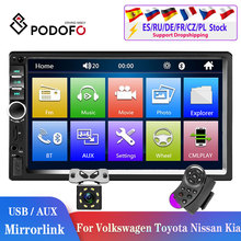 Podofo-radio Multimedia con GPS para coche, radio con reproductor, 2Din, Android, Mirrorlink, 2din, estéreo, MP5, Bluetooth, USB, cámara FM