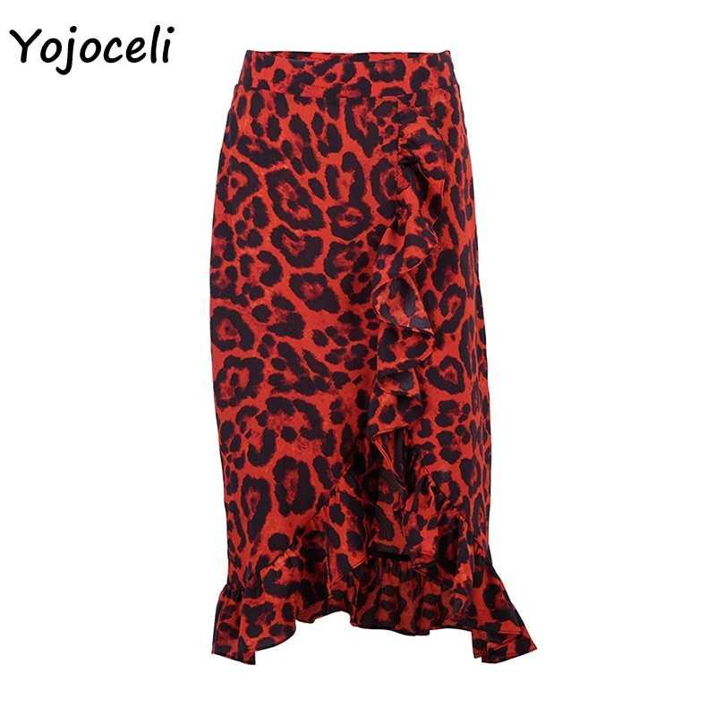 Yojoceli, французский стиль, леопардовая юбка, Женская плиссированная юбка миди, нижняя уличная красная юбка с принтом