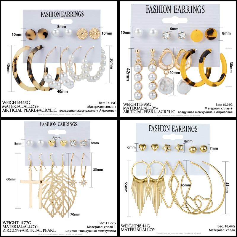 POXAM New Fashion Korean Tassel Acrylic Earrings For Women Geometric Round Drop Earrings Set 2020 New Brincos Fashion Jewelry