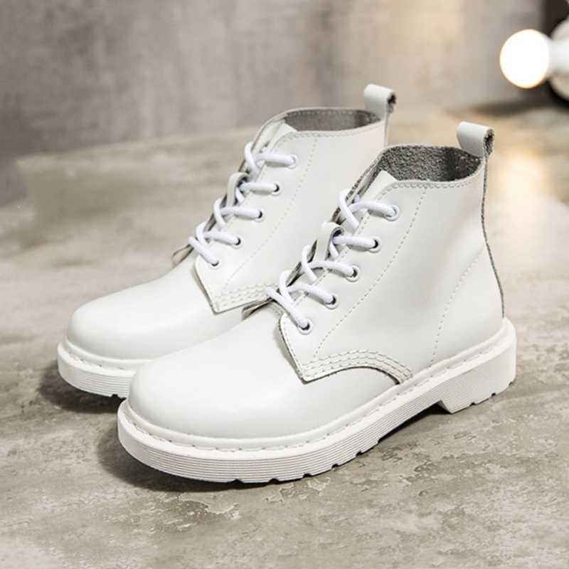Kadın yarım çizmeler siyah beyaz hakiki deri motosiklet çizmeleri kadın kış bayanlar deri ayakkabı botas mujer büyük boyutu 35-44