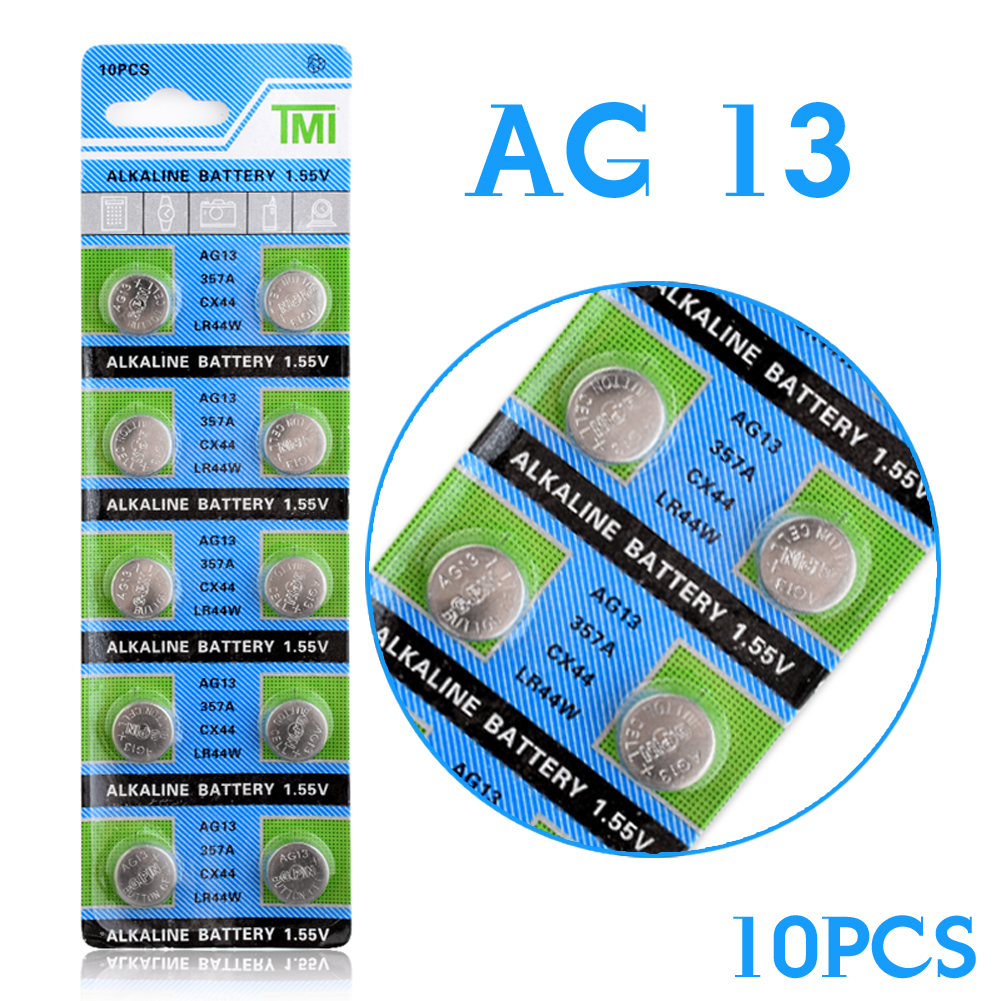 YCDC Lithium Button 10 Pcs AG13 LR44 357A S76E G13 SR44 Button Coin Cell Battery Batteries 1.55V Alkaline For Watches Toys