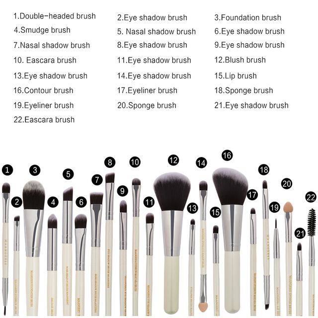 20/22Pcs Beauty Makeup Brushes Set Cosmetic Foundation Powder Blush Eye Shadow Lip Blend Make Up Brush Tool Kit MENGSHANG MAANGE 1
