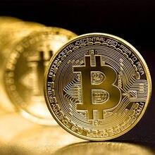 1 pçs lembrança criativa banhado a ouro bitcoin coin collectible ótimo presente bit moeda arte coleção física moeda comemorativa de ouro