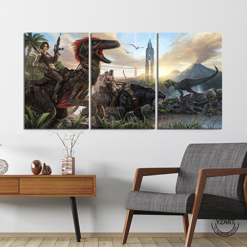 3pcs Ark Survival Evolved Landscape Dinosaurs Guns Bows Tower Game Poster Artwork Canvas Paintings Wall Art For Home Decor Painting Calligraphy Aliexpress
