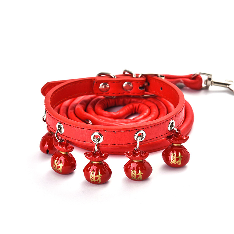 Pet Dog Cartoon Cat Neck Ring Teddy Bichon Poodle Bell Dog Chain Haulage Rope Package