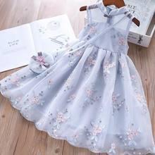 Girls Dress Summer Clothes Hanfu 2021 New Fashion Children's Vintage Net Yarn Dress Kids Dresses for Girls Wedding of 11 Years