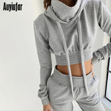 Auyiufar Casual Hooded Women 2 Piece Set Solid Long Sleeve Crop Top And Pants 2019 Streetwear Skinny Females Matching Sets