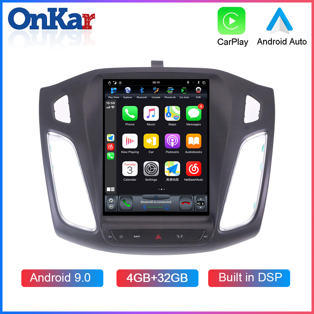 ONKAR 10.4 Inch Vertical Screen For <font><b>Ford</b></font> <font><b>Focus</b></font> 2012-2017 Android 9.0 Car GPS <font><b>Navigation</b></font> 1 Din DSP Wireless CarPlay HDMI image