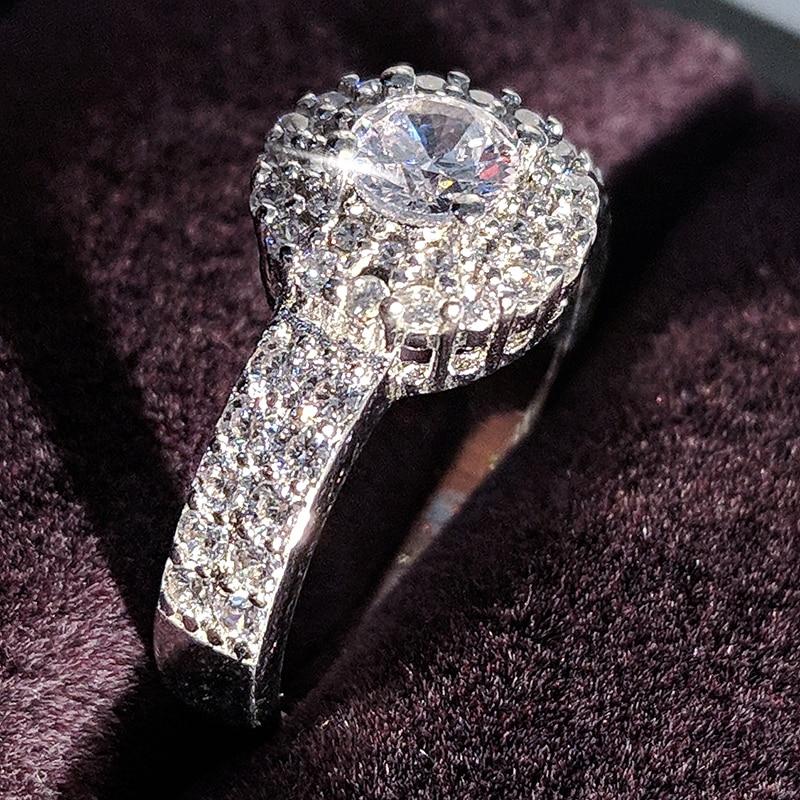 Moonso SoLove Real 925 Sterling Silver CZ Stone Engagement օղակաձև օղակ կանանց համար Հարսանյաց տուրի էլեգանտ և բարեհամբույր LR783S