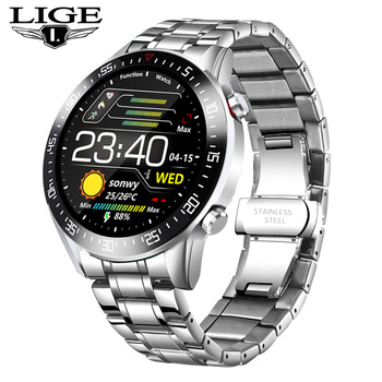 LIGE  fashion Full circle touch screen Mens Smart Watches  IP68 Waterproof Sports Fitness Watch Luxury Smart Watch for men 8
