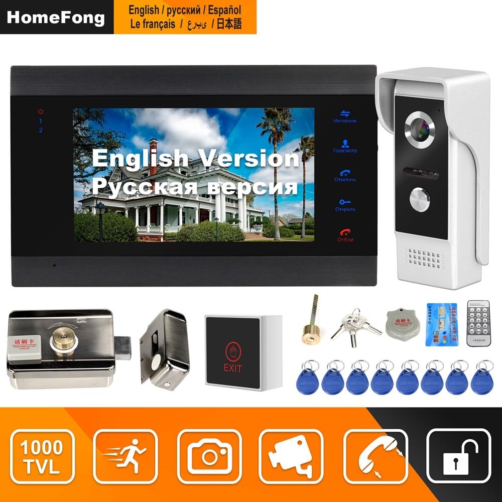 HomeFong Wired Video Intercom With Lock  Home Door Lock Intercom System  Support Motion Detect Recording 1000TVL Doorbell Camera