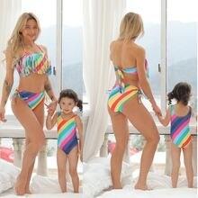Полосатый Семейный комплект радужные купальники для матери и