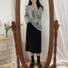 Solidna czarna brązowa spódnica do połowy łydki spódnica w stylu Vintage, wiosenna letnia prosta Mi długie wysokie spódniczki dziewczęce Femininas winter Women