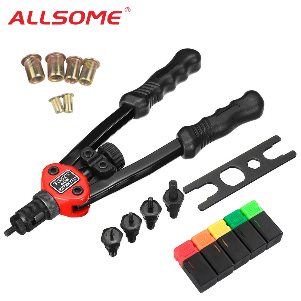 ALLSOME 12'' Hand Threaded Rivet Nut Gun With 50pcs Rivnuts 606 Insert Manual Riveter Riveting Rivnut Tool For M3 M4 M5 M6 M8