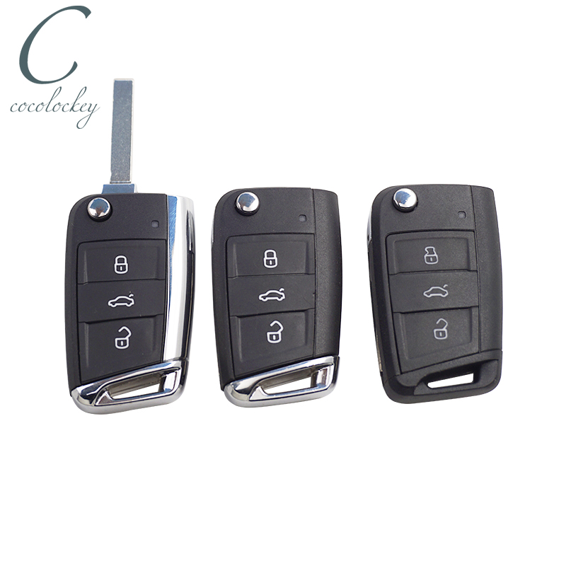 Cocolockey remoto flip chave do escudo para vw mqb gollf 7 para skoda octavia a7 para seat remoto dobrável carro chave uncut hu162t