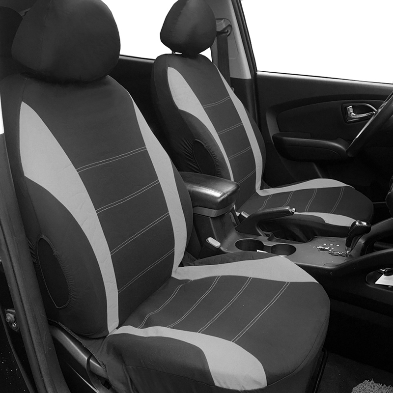 AUTOYOUTH housses de siège de voiture avant gris Airbag avant prêt Sport seau housse de siège, lot de 2 pour voitures SUV camion avec 2 mm de mousse