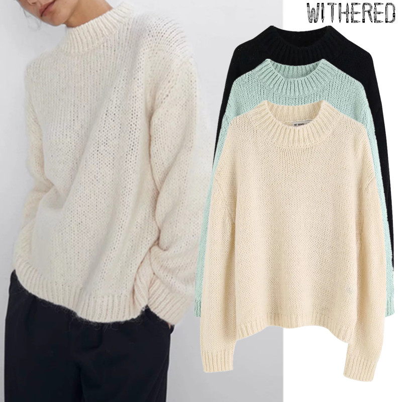 Withered 2019 Winter Sweaters Women England Simple Solid Vintage O-neck Oversize Mohair Pull Femme Sweaters Women Pullovers Tops