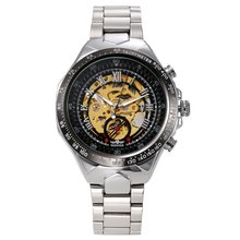 Men'S Skeleton Automatic Mechanical Stainless Steel Sport Watch