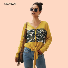 Sweater Blouse Women Casual V-neck Button Long Sleeve Print Cardigan Tops Solid Color Slim Bow Blouse Streetwear Womens Clothing все цены