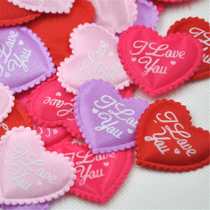 50 Padded Satin Fabric Love Hearts Weddings Crafts Embellishments 35mm x 33mm