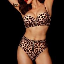 Simplee bikini Sexy imprimé léopard, ensemble bikini Push up, taille haute, pour piscine, été, maillot de bain à fermeture éclair, plage, 2020