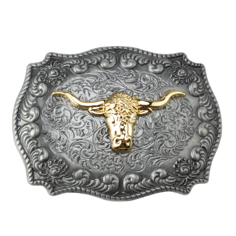 Golden Bull Head Belt Buckle Handmade Homemade Belt Accessories Waistband DIY Western Cowboy Rock Style K52