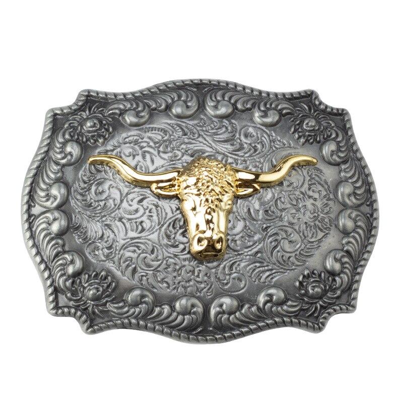 Golden Bull Head Belt Buckle Handmade Homemade Belt Accessories Waistband DIY Western Cowboy Rock Style K52