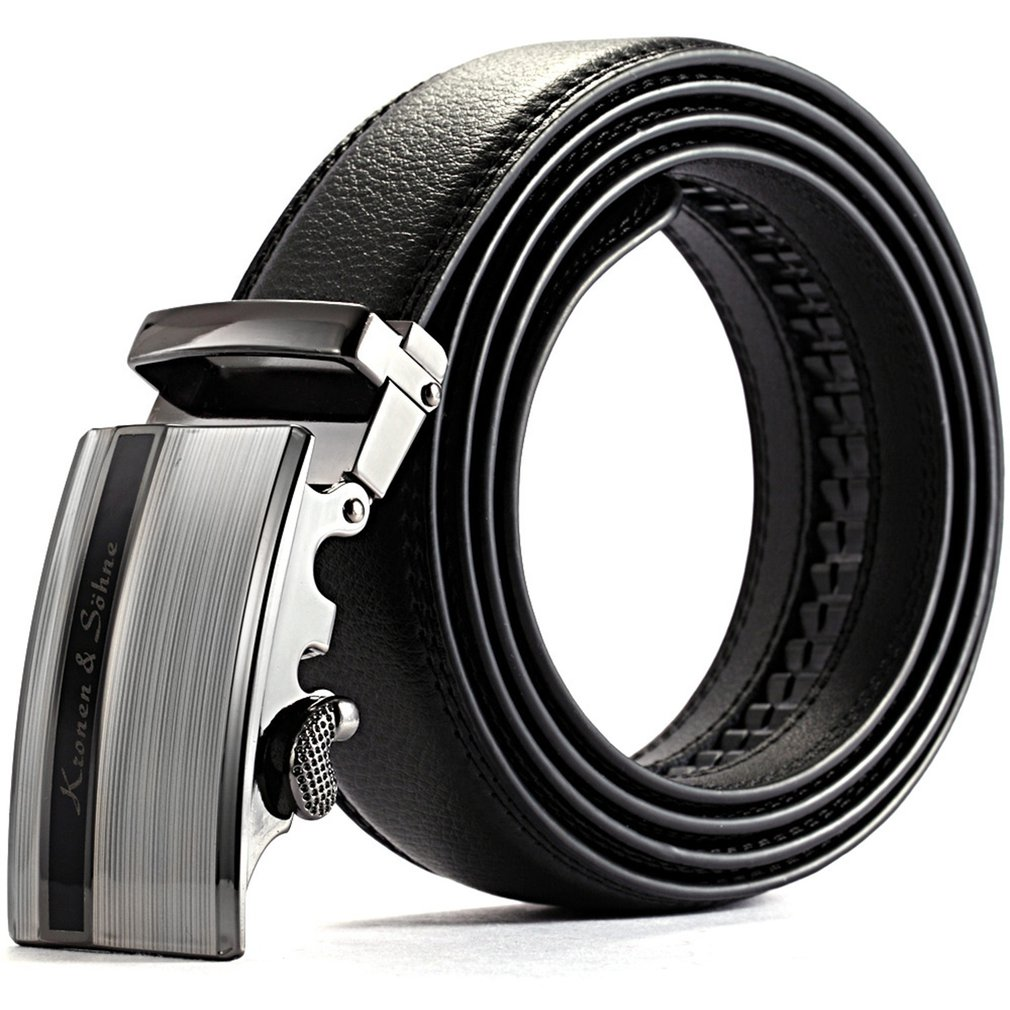 New Business Official Black Silver Strap Men's Dress Genuine Real Leather Belt With Auto Lock Stainless Steel Buckle Gift/KB014