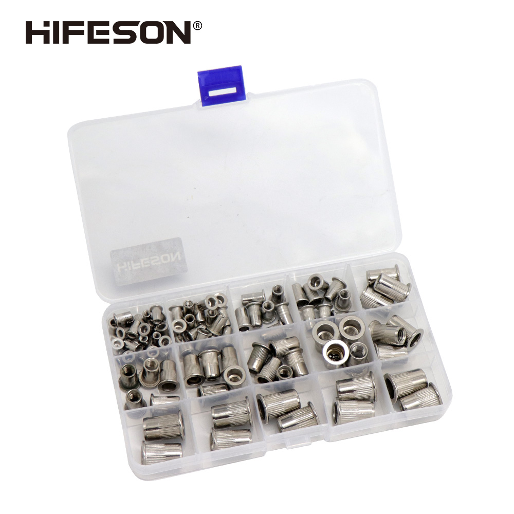 95Pcs and 300Pcs Stainless Steel Rivet Nut Rivnut Insert Nutsert KIT M3 M4 M5 M6 M8 M10 for Rivet Nut Gun Riveting Riveter Tool