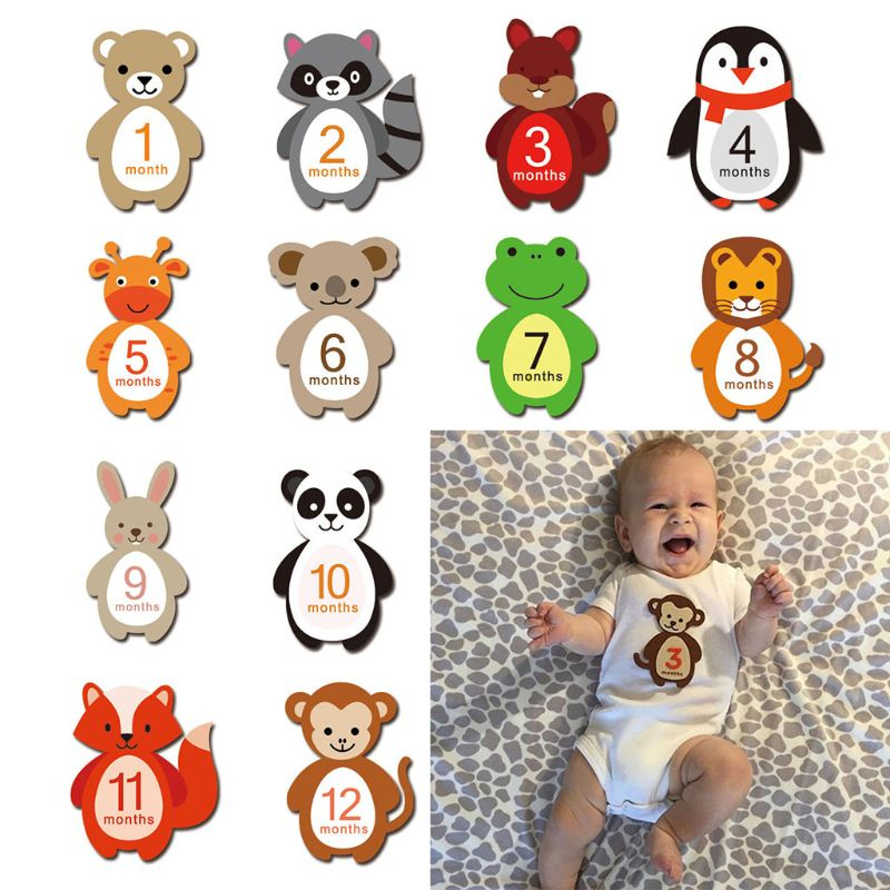1-12 Months Baby Monthly Milestone Sticker Baby Photography Props Photo Stickers
