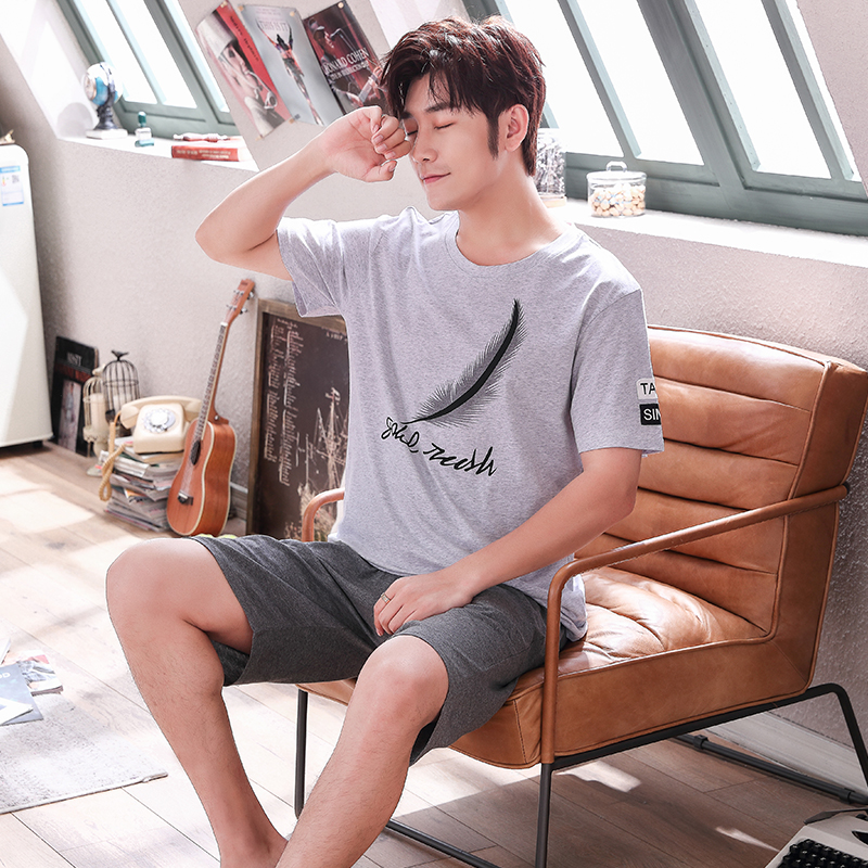 Two-piece Short-sleeved Shorts Comfortable Pajamas Can Be Worn Outside Pajamas Suit Men 2020 Summer Casual L-3XL Large Size