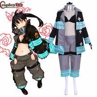 Cosplaydiy Fire force Enen No Shouboutai Kotatsu Tamaki Battle Suit Team Cosplay Costume Fireman Uniform Halloween Outfits