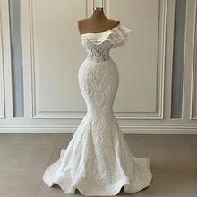 Romantique une épaule perles dentelle sirène Robe de mariée 2021 luxe volants 3D dentelle de mariée robes de mariée Robe de Mariage