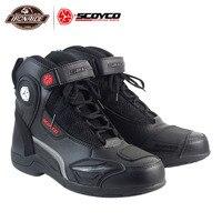 SCOYCO Men Motorcycle Boots Motorcycle Shoes Moto Protion Botas Moto Motocross Boots Biker Racing Riding Boots