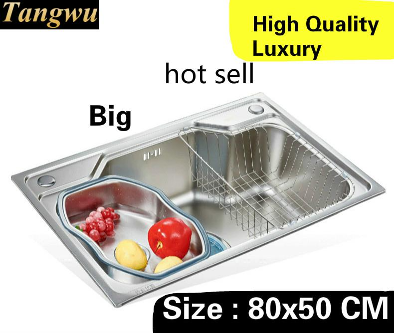 Free Shipping Home Big Kitchen Single Trough Sink High Capacity Wash Vegetables Luxury 304 Stainless Steel 80x50 CM