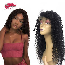 Virgin Brazilian Deep Wave 13x4 Lace Frontal Wigs 180% / 250% Density 10-24 Inches Pre Plucked 4x4 Lace Closure Wigs(China)